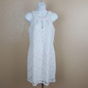 As U Wish Women's Halter Sleeveless Dress White Si